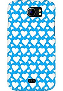 AMEZ designer printed 3d premium high quality back case cover for Micromax Canvas 2 A110 (sky blue white hearts)