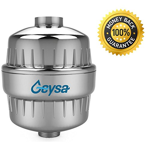 Geysa High Output Universal Shower Filter with Replaceable 2-Stage Filter Cartridge, Removes Chlorine and Other Harmful Substances From Your Water, Free Teflon Tape - Chrome (Shower Water Filter compare prices)