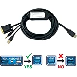 Bestron 10FT VGA To HDMI Cable Converter, Connecting Your PC/Notebook With VGA Female Output To A HDTV With HDMI...