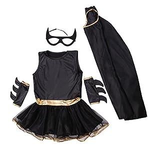 D guisement enfant costume fille tenue halloween carnaval super heroine batgirl batman cape for Comfabriquer deguisement halloween enfant