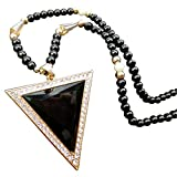 Evana Triangle Enamelled Black Necklace for Women