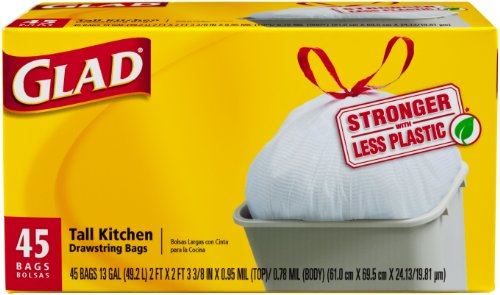 Glad Tall Kitchen Drawstring Garbage Bags, 13 Gallon, 45 Count