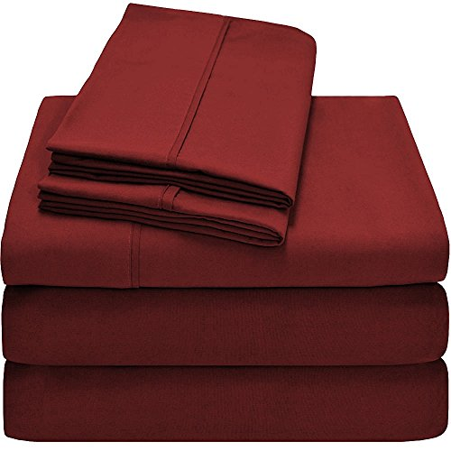1800 Series Bed Sheet Set 100% Brushed Microfiber HYPOALLERGENIC Split King Size Solid/Plain Burgundy #Exclusive by The Great American Store (Split King Sheets Fleece compare prices)
