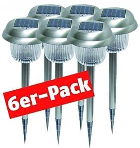 McShine SGL-6P Solar-Gartenleuchten, Edelstahl, 6er Pack