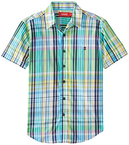 IZOD Big Boys' Short Sleeve Woven Button-Up Shirt, Green, Small