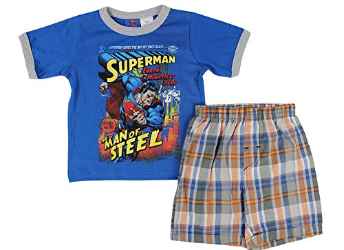 Alfa Global Baby Boys Toddler Superman Character Printed T-Shirt And Checkers Elasticized Waist Cotton Short 2Pcs. Set 3 Years front-345938