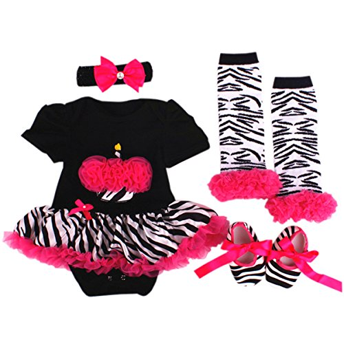 TANZKY® Baby Girls' 4PCs Zebra 1st Birthday Party Tutu Dress Outfit