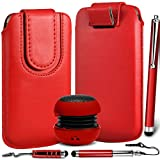 N4U Online Premium PU Leather Pull Flip Tab Case Cover Pouch With Magnetic Strap Closure , Mini Portable Speaker & 3 Pack Stylus Pen Bundle For Blackberry Curve 9360 - Red