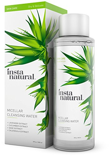 InstaNatural Micellar Water - Gentle Nonrinse Facial Cleansing & Simple Makeup Remover - Natural Skin Care Solution for Sensitive Skin - Fast Daily Hydration - Great for Post Gym Use & Travel - 8 OZ Review