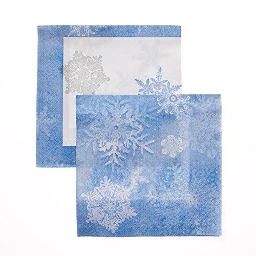 Blue Snowflake Beverage Napkins - 1
