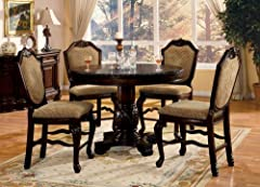5 pc Chateau De Ville II collection espresso finish wood round counter height pedestal dining table set with diamond pattern fabric padded chairs