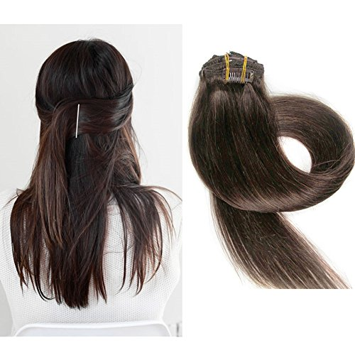 TheFashionWay Brazilian Human Hair Extensions Clip in Silky Straight Weft Remy Virgin Hair (15 inches, #4)