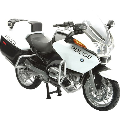 New Ray BMW R1200RT-P Police Replica Motorcycle Toy - Black/White / 1:12 Scale