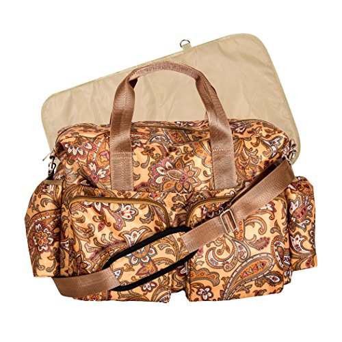 Trend Lab Paisley Brown Deluxe Duffle Diaper Bag, Paisley Brown - 1