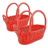 Colorbasket 31324-108 Hand Woven Waterproof Wine Bottle Basket, Red, Set of 2