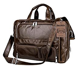 Leather Laptop Bag,Berchirly Vintage Expandable Men's Genuine Leather Briefcase Office Business Messenger Bag fits 16.7Inches Computer Notebook Tablet Ipad Air Wallet Purse Umbrella