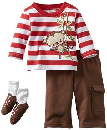 Babyworks Baby-Boys Newborn Accessory Stripe Monkey Pant Set, Brown, 3-6 Months