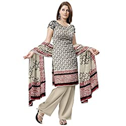 Cream Floral Printed Jute Dress Material without Bottom