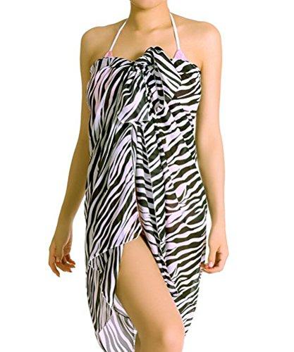 Demarkt Women's Sexy Swimwear White & Black Zebra Strips Cover-ups Bikini Wrap Scarf Outside Sarong Sun Beach Dress