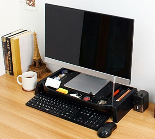 Monitor Stand Cradle Desk Organizer LED LCD (black)