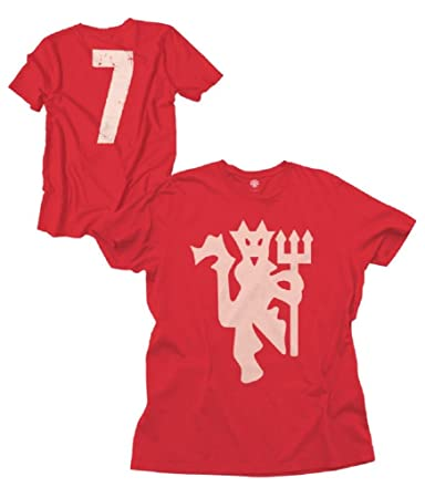 England Manchester United #7 Football Soccer Men's Distressed Logo Crew Neck T-shirt Red : Sports & Outdoors