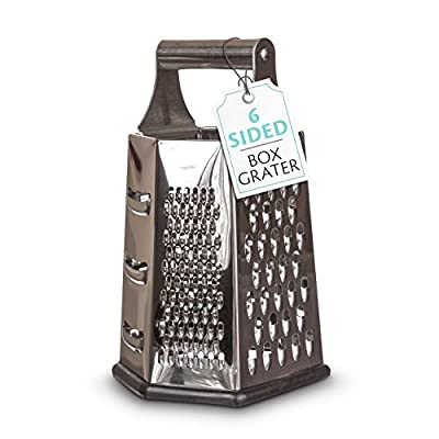 Armoni Kitchens Cheese Grater and Lemon Zester; 6 Sided Stainless Steel 8 Inch