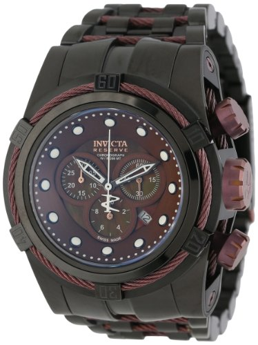 Invicta Men's 12733 Bolt Reserve Chronograph Brown Mother-Of-Pearl Dial Black Ion-Plated Stainless Steel Watch