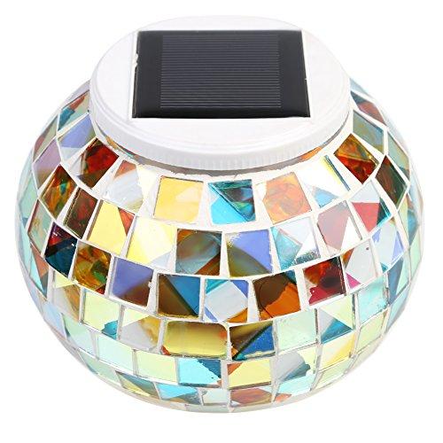 Party-Lampada da tavolo, MKQPOWER ad energia solare che cambia colore, motivo: mosaico di vetro-Luci a forma di palla, impermeabile, luce notturna per prato da giardino o interni, in ufficio, a led, per camera da letto, soggiorno