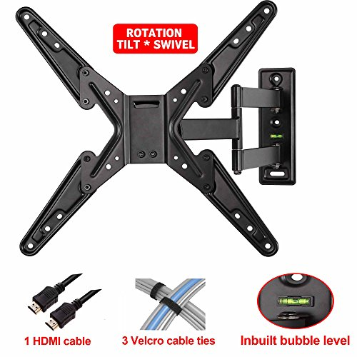 """Mounting Dream® Md2393-Mx Tv Wall Mount Bracket With Full Motion Articulating Arm (20"""" Extension) For 26-55 Inches Led, Lcd And Plasma Tvs Up To Vesa 400X400Mm And 78Lbs, With Tilt, Swivel, And Rotation Adjustment, Including 6 Ft Hdmi Cable And Built In B"""