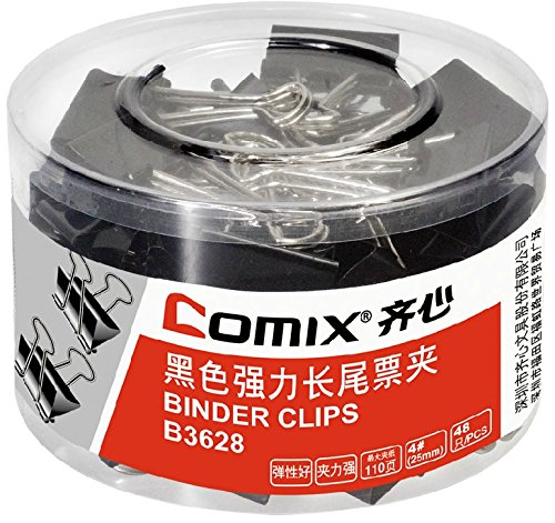 Comix B3628 Black Power Binder Clips , Clip Size:25mm(4#) Material: Elastic Steel , Color: Black (Tub of 48 clips) stainless steel file binder clips set 12 pcs