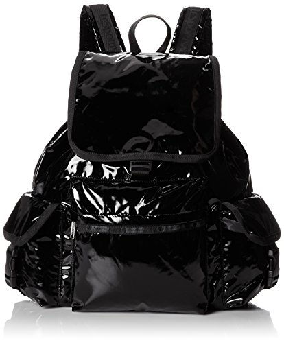LeSportsac Voyager Backpack,Black Patent,One Size