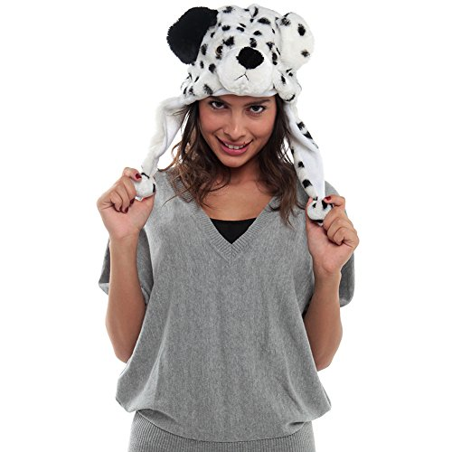 Adorox Women'S Dalmation Short Plush Hat One Size Multi Color front-382607