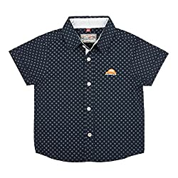 WOWMOM AOP POLKA SQUARE H/S SHIRT INK BLUE