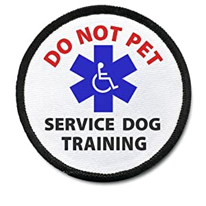 SERVICE DOG TRAINING DO NOT PET Black Rim Medical Alert 2.5 inch Sew-on Patch