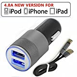 Portable Car Charger with 2/dual USB Ports and MFI Certified Lightning Cable, 4.8a/iphone 6s / 6s Plus, 6, 5, 5s, Ipad Air 2, Mini 3