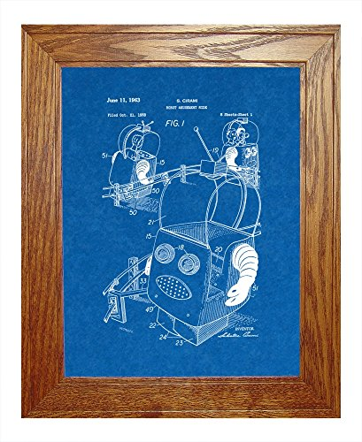 "Robot Amusement Ride Patent Art Blueprint Print In A Honey Red Oak Wood Frame (8.5"" X 11"")"