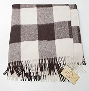 100 baby alpaca throw blanket black and white plaid home kitchen. Black Bedroom Furniture Sets. Home Design Ideas