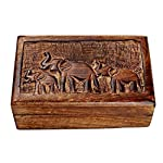 storeindya, Handmade Wooden Jewelry Box - Keepsake Box - Storage Organizer - Multipurpose Box - Treasure Chest - Trinket Holder for Women Men Girls - Single (Chandragupta Collection)