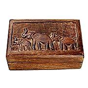 storeindya, Handmade Wooden Jewelry Box - Keepsake Box - Storage Organizer - Multipurpose Box - Treasure Chest - Trinket Holder for Women Men Girls - Single (Chandragupta Collection)