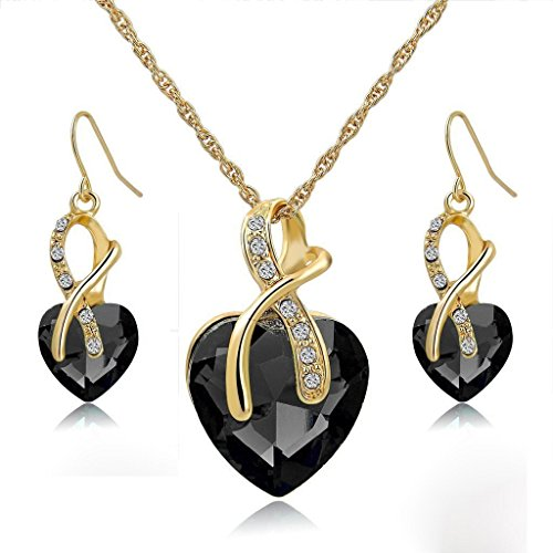Jewelry Sets- Morenitor[TM] Gold Plated Austrian Crystal Heart Shape Necklace Earrings Set.