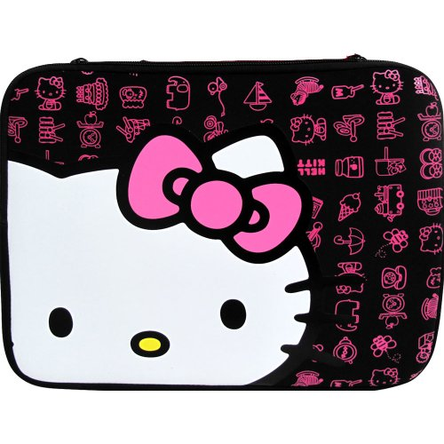 ed9ef4a8e Hello Kitty 14 Inch Neoprene Zippered Sleeve Case for Laptops Notebooks  Black TR8