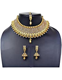 White Tedition One Gram Gold Pleted Necklace Set With Mang Tikka