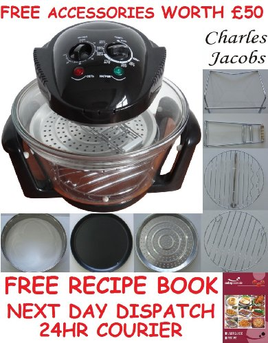 12 LTR Halogen Oven Cooker in BLACK+ COOK BOOK, accessories includes extender ring, lid holder, low rack, high rack, forks, frying pan, tong, steamer - worth £60 + 2 YEAR WARRANTY