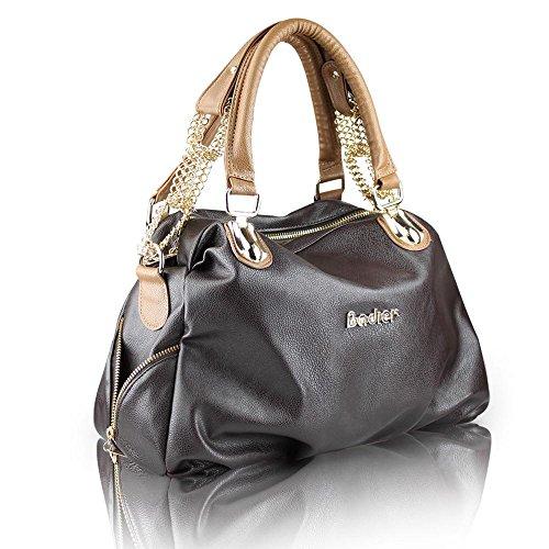 Igo Moda borsa cuoio donne in pelle borse donne borse messenger retrò Vintage donna spalla borse gray