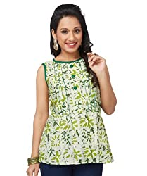 Enah Women's Cotton Green Batik Peplum Top Large (132 / Top / Green-Large)