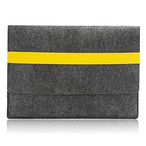 Lavievert Handmade Gray Felt Case Bag Sleeve with Yellow Elastic Band for Apple 11