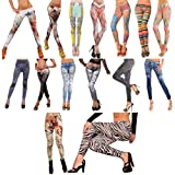 SAVFY 2013 New Sexy Womens Leggings /Jeans Graffiti Jeggings Stretchy Skinny Pants Printed Pattern Legwear Tights, 27 Designs Ladies Fashions Demin Look, ONE Size Super Slim Jeggings, Power Stretch Fabric, Nice Silky Smooth, fit UK Size from 6-12