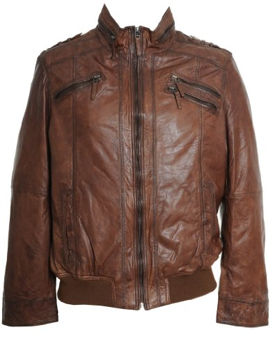 Mens Leather Zipper Biker Jacket : Cognac : SR550 Extra-Small