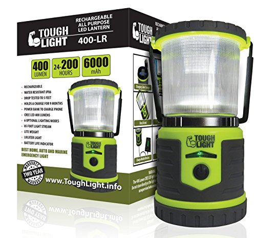 Tough Light LED Rechargeable Lantern - 200 Hours of Light From a Single Charge, Longest Lasting on Amazon! Camping and Emergency Light with Phone Charger - 2 Year Warranty (Portable Hazard Lights compare prices)
