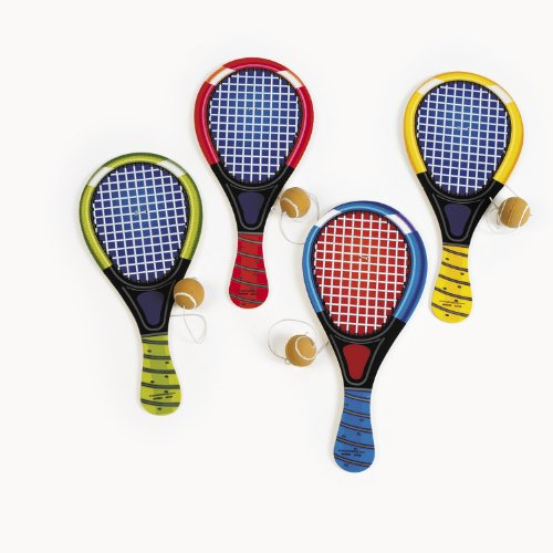 Wooden Tennis Racquet Paddleball Games (1 dz) - 1